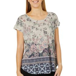 OneWorld Womens Magnificent Floral Motif Short Sleeve Top
