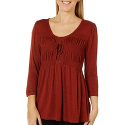 OneWorld Womens Solid Smocked Knit Top