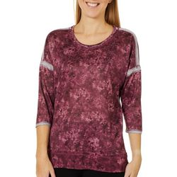 OneWorld Womens Cloud Texture Solid Embellished Top