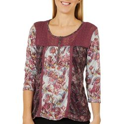 OneWorld Womens Berry Flavor Floral Print Lace Detail Top