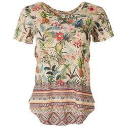 OneWorld Womens Tropical Embellished Short Sleeve Top