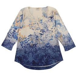 OneWorld Womens Painted Leaf Embellished Short Sleeve Top