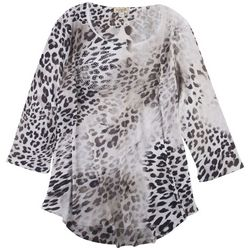 OneWorld Womens Animal Print 3/4 Sleeve Top