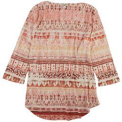 OneWorld Womens Oriental Print 3/4 Sleeve Top