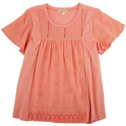OneWorld Womens Embroidered Flowers Top