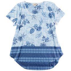OneWorld Womens Print Mix Short Sleeve Top