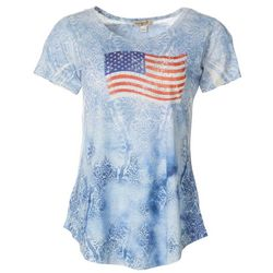 OneWorld Womens Americana Flag Round Neck Short Sleeve Top