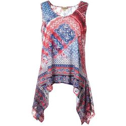 OneWorld Womens Americana Patchwork Sleeveless Top