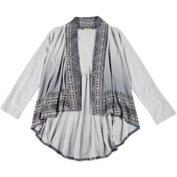 OneWorld Womens Geometric Print Hacci Cardigan
