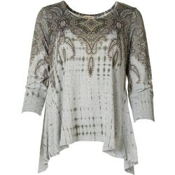 OneWorld Womens Paisley Hi-Lo Top