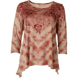 OneWorld Womens Diamond Floral Hi-Lo Top