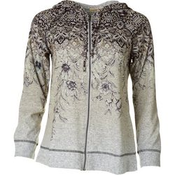 OneWorld Womens Paisley Print Hacci Jacket