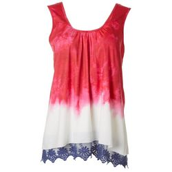 OneWorld Womens Americana Tie Dye Lace Trim Sleeveless Top