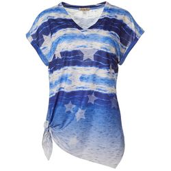 OneWorld Womens Star Print Side Tie V-Neck Top