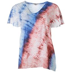 OneWorld Womens Tie Dye V-Neck Short Sleeve Top