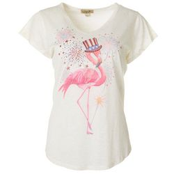 OneWorld Womens Americana Flamingo V-Neck Short Sleeve Top