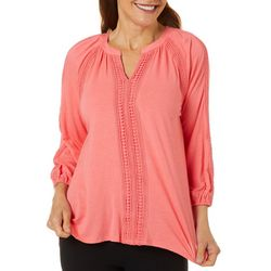 OneWorld Womens Solid Crochet Trim Split Neck Top