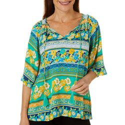 OneWorld Womens Mixed Floral Stripe Short Sleeve Top