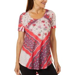 OneWorld Womens Embellished Floral Print Short Sleeve Top