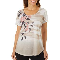 OneWorld Womens Camo Floral Short Sleeve Top