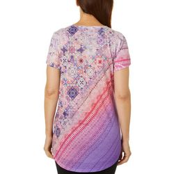 OneWorld Womens Embellished Tile Print Short Sleeve Top