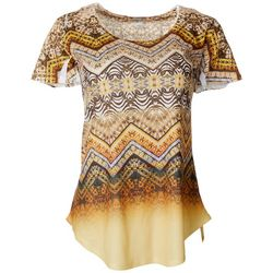 OneWorld Womens Geometric Chevron Short Sleeve Top