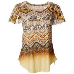 Womens Geometric Chevron Short Sleeve Top