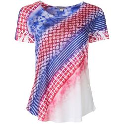 OneWorld Womens Jeweled Tie Dye Short Sleeve Top