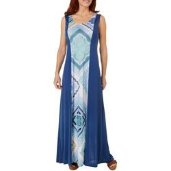 Womens Paisley Print Solid Panel Dress