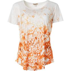 OneWorld Womens Blissful Embellished Short Sleeve Top