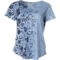 OneWorld Womens Leopard Embellished Short Sleeve Top