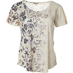 OneWorld Womens Animal Embellished Short Sleeve Top