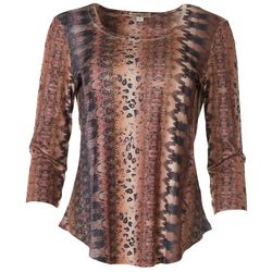 OneWorld Womens Multi Print Scoop Neck Top
