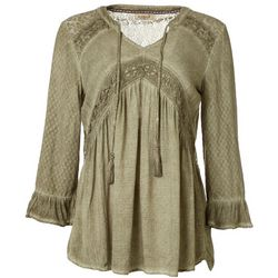OneWorld Womens Solid Lace Relaxed Blouse