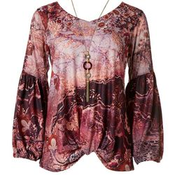OneWorld Womens Floral Print Mid Sleeve Top
