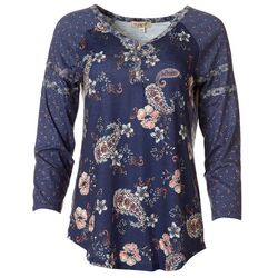 OneWorld Womens Floral Paisley Mid Sleeve Top