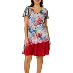 OneWorld Womens Cherry Blossom Print V-Neck Dress