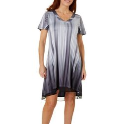 OneWorld Womens Night Illusion Striped Dress