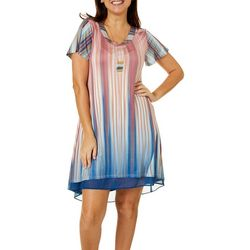 OneWorld Womens Illusion Stripe V-Neck Dress