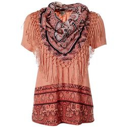 OneWorld Womens Short Sleeve Scarf Top