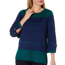 Isela Womens Multi Stripe Round Neck Sweater