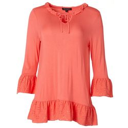 Tint & Shadow Womens Ruffled Eyelet 3/4 Sleeve Top