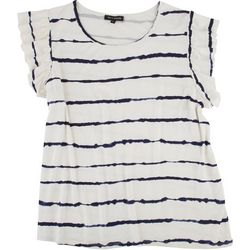 Tint & Shadow Womens Striped Ruffle Cap Sleeve Top