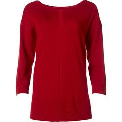 Womens Ribbed Hem Solid Sweater