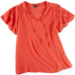 Tint & Shadow Womens Solid Ruffled Top