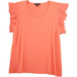 Tint & Shadow Womens Solid Ruffled Sleeve Top