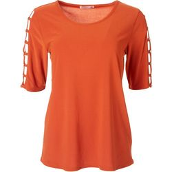89th & Madison Womens Square Cutout Mid Sleve Top