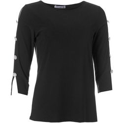 89th & Madison Womens Embellished Sleeve Top