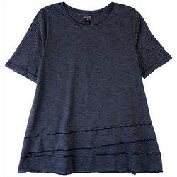 Erin London Womens Rolled Cuff Short Sleeves Top
