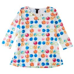 Erin London Womens All-Over Colorful Circles Top